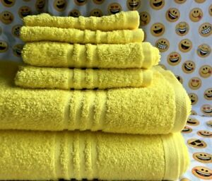 Bath Towel Set  6 Pieces Light Weight Yellow Main Stay New