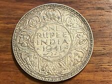 T2: British India 1941 Silver Rupee. Mumbai (Bombay) mint.