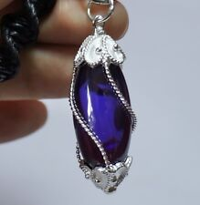 Purple Necklace Nok Phra Gow Lucky Gems Naga Eye Crystal Real Thai Amuletc#A44