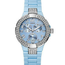 New Authentic GUESS Women Baby Blue Multi functional Watch U11622L2 new with Tag