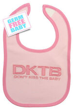 """Don't Kiss The Baby - Bib """"Pink"""" Drool/Water Proof, sustainable material"""