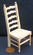1:12 Scale Natural Finish Wooden Ladder Back Chair Dolls House Miniature 104