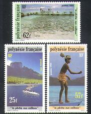French Polynesia 1991 Stone Fishing/Canoes/Fish/Food/Boats/Transport 3v (n36361)