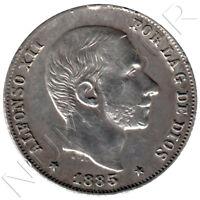 ESPAÑA (Islas Filipinas) 20 Centavos de Peso plata 1885 Rey Alfonso XII Manila