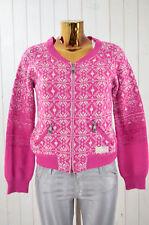 ODD MOLLY Damen Strickjacke Cardigan Norwegermuster Pink Weiß Wolle Gr.1/36