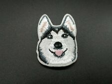 Husky Dog Animal White 7.9cm x 5.5cm Embroidered Sew or Iron on Badge
