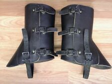 USED SWISS ARMY SURPLUS BLACK LEATHER GAITERS ,CAMPING,MOTORCYCLE,SPATS,LEGGINGS