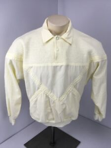 VTG 80s Great Cavalier by St. Paul Cream L/S Pullover Collared Sweater Jacket M