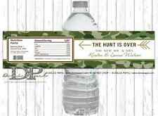 10 Green Camo The Hunt Is Over New Mr and Mrs Wedding WATER BOTTLE LABELS