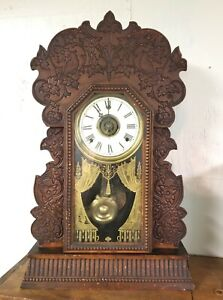 Outstanding RARE Gilbert Navy # 24 Heavily Carved Parlor Clock Working Well