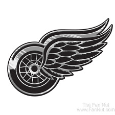 Detroit Red Wings Raised Silver Chrome Colored Auto Emblem Decal NHL Hockey