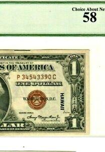 "$1  (WORLD WAR II) ""HAWAII"" RARE! $1 (WORLD WAR 2) (HAWAII) ""GRADED"" C/U/58!!!"