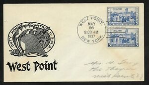 #789 5c Army Heroes- West Point Cachet -Parsons FDC Pair