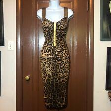 Dolce & Gabbana Leopard Print Wiggle Runway Dress Gold Lambskin $1500 XS S