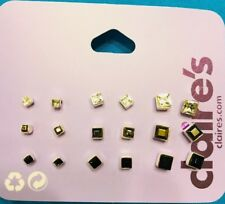 Nine Pairs Claire's Graduating Clear Gray Black Square Rhinestone Stud Earrings