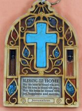 Wood Wall Hanging Bell shape Hollow series real turquoise cross holy Earth Water