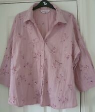 BON MARCHE Pink Crinkle Shirt Blouse Top - Embroidery / Bead Detail - Size 22
