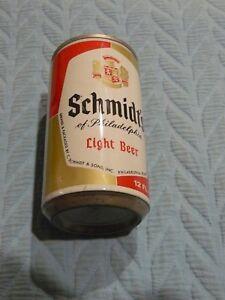 White SCHMIDT'S OF PHILADELPHIA Light BEER CAN Pull Tab open 12 oz empty STEEL