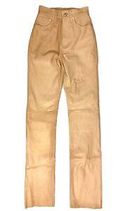HELMUT LANG Womens Lambskin Leather 5 Pocket Pants Peach Pink (MSRP $1,095)