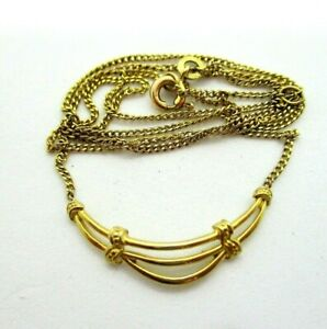 """9ct 375 9K German Yellow Gold Smile Pendant 16"""" Chain Necklace 1983 London 2.15g"""
