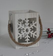 White Christmas Wood Lantern  Snowflake Glass Candle Holder Rope Hanging Handle