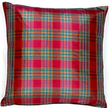 Checks Silk Cushion Cover Woven Check Rouge Red Green CLEARANCE