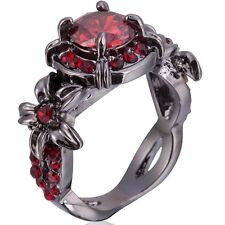 Size 4-12 Black Red Swarovski Crystal Ring Wedding Engagement Mother Wife Gifts
