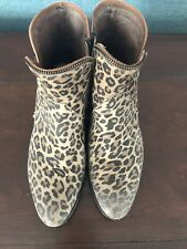 Coqueterra Women's Low Ankle Leather Boot Leopard Size 38 - Us Size 71/2 or 8