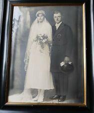 Bilderrahmen um 1925 - Glas -  Hochzeits-Foto - Schellack