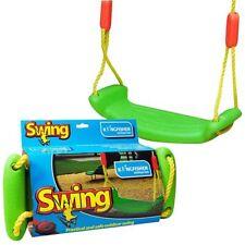 KIDS CHILDRENS GREEN PLASTIC SWING SEAT ROPE GARDEN OUTDOOR SWING TREE SUMMER