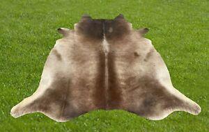 Large Cowhide Rug Brown Real Hair on Cow Hide Animal Skin Area Rugs 5 x 6 ft