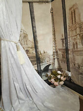 """NEW! Huge Heavy White Crushed Velvet 113""""D 54""""W Blackout Lined Bay Pair Curtains"""