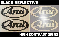 2x Arai Black Reflective SAFETY Motorcycle Helmet Sticker Decal France riding