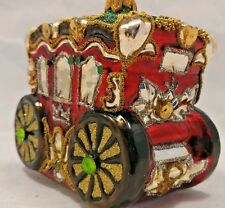 Pier 1 Imports Carriage Hand Decorated Glitter Blown Glass Christmas Ornament