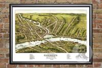 Vintage Gardiner & Pittston, ME Map 1878 - Historic Maine Art - Old Industrial