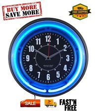 "11"" Vibrant Blue Neon Analog Wall Clock, Glass lens, Plastic frame"