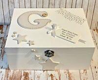 PERSONALISED NEWBORN KEEPSAKE GIFT Memory Birthday Box Name Date of Birth Design