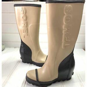 Sorel Womens 9.5 Joan Rain Wedge Tall Boots Rubber Felt Boost Beach Black Snow