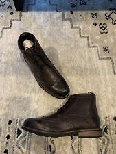 Nunn Bush Odell Wingtip Dress Boots Men's Size 11 Wide Brown Crazy Horse