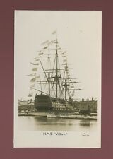 Navy British NELSON HMS Victory Unposted c1920/30s? with bunting RP PPC
