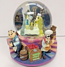 """Disney Lady and The Tramp Vintage Musical Box Snow Globe """"Belle Notte"""" rare"""