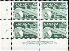 Canada Mint NH 1956 VF Scott #362 20c Block of 4 Paper Industry Stamps