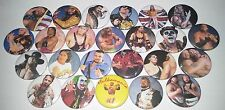 24 Wrestling badges Hulk Hogan Ultimate Warrior Bret Hart WWF WCW WWE WF W 90s