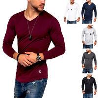 Jack & Jones Herren Langarmshirt INFINITY Longshirt V-Neck T-Shirt Basic Style