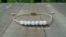 Rose quartz and blue lace agate string bracelet minimalist jewelry chakra