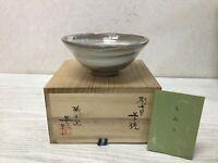 Y1218 CHAWAN Seto-ware brush marks signed box Japanese Tea Ceremony bowl pottery