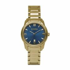 GOOIX Only Time Woman Watch DUA-05874 PVD Gold Case and Strap with Blue Dial