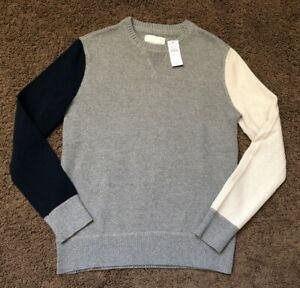 Mens American Eagle Sweater Size Small Gray Navy NEW NWT AE Colorblock