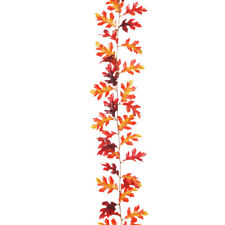 Autumn Artificial Oak Leaf Garland Red Brown 1.8m/6ft