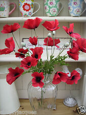Bunch of Red Artificial Field Meadow Poppies,6 stems,18 Silk Poppy Heads,6 buds